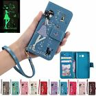 Luminous PU Flip Card Stand Case Wallet Cover For iPhone 5S SE 6 6S 7 8 Plus X