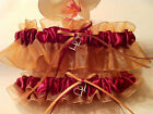 Burgundy & Gold Wedding Keepsake Garter or Set - Plus Size Also - Prom Garter