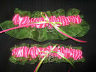Hot Pink & Lime Green Wedding Keepsake Garter or Set - Plus Size - Prom Garter