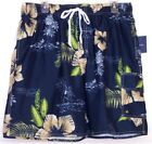 Men's Croft & Barrow Swimming Trunks Elastic Band Navy Floral NWT  Small S