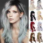 black hair with ombre red - Fashion Hair Wig Heat Resistant Synthetic Fiber Natural Long Wave with Bang Ef5