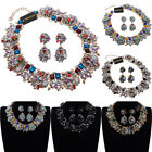 Fashion Jewelry Chain Rhinestone Glass Chunky Choker Statement Bib Necklace