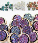 8X Shimmer Sequins Silver Plated Buttons DIY Sewing Shirt Button Backhole 11mm