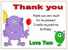 10 Personalised THANK YOU CARDS , thanks, boys birthday party MONSTERS monster