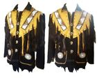Mens Western Wear Suede Leather Jacket Hnadmade Fringed & Beads Leather Coat