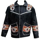 Mens Western Wear  Suede Leather Jacket Hand made Fringe Cow boy Style Coat
