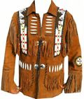 Mens Brown Western Wear Suede Leather Jacket Handmade Fringed Cow boy Beads Coat
