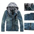 Vintage Mens Denim Jacket Hooded Retro Slim Jean Coat Zipper Hoodie Blue M-5XL