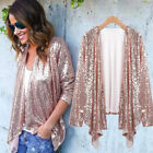 Women Long Sleeve Sequined Irregular Jacket Cardigan Tops Cover Up Blouse Coat
