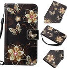 Gold Butterfly Bling crystal Rhinestone Wallet Flip leather card slot Phone case