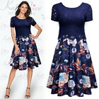 Women's Casual Scoop Neck Flower Print Contrast Lace Party Mini Swing Dress
