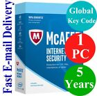 McAfee Internet Security 1 PC / 5 Years (Unique Global Key Code) 2019