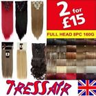 Full Head Real Thick Clip In Hair Extensions Long Curly Straight 8 Piece HEAT OK