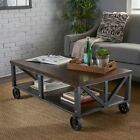 Dresden Industrial Faux Wood Coffee Table with Antique Black Iron Frame
