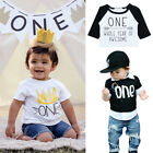Toddler Baby Boy Girl 1st Birthday Party T-Shirt Top Crown T