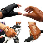 Genuine Leather Sheepskin Fingerless Driving Gloves Motorcycle Biker US Local