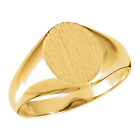 10k Yellow Gold Oval Open Back Signet Ring - 10 X 8 Mm