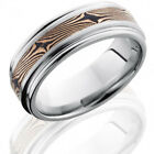Cobalt Chrome 8mm Flat Band with Rounded Edges and 3mm 14K Rose Gold