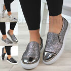 New Womens Casual Sneakers Flat Zip Trainers Glitter Pumps Ladies Shoes Sizes