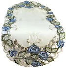 Table Runner, Doily, Mantel Scarf with Victorian Blue Roses on Ivory Fabric