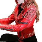 Women Red Punk Style Studded Leather Jacket Bespoke Fashion Real Leather Jacket