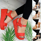 New Womens Platform Sandals High Wedge Heel Ankle Strap Peep Toe Comfy Shoes