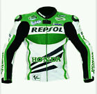 Green Repsol Motorcycle Leather Jacket Sports Motorbike Leather Cowhide Jacket