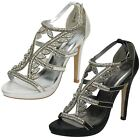 Ladies Anne Michelle Diamante Trim Buckle Party High Heeled Sandals F1R0289