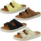 Ladies Down To Earth Slip On Thick Sole Double Riptape Mule Sandals F1R0327