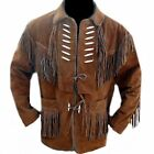 Men Brown Western Wear Suede Leather Jacket CowBoy Scully Fringed style Coat