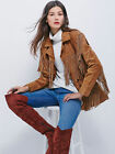 Women Brown CowLady Western Wear Suede Leather Jacket Scully Fringed style Coat