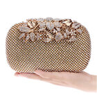 Gold Diamante Formal Party Wedding Prom Clutch Bag Purse Crystal Leaves
