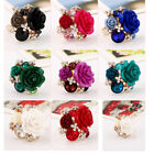 Women Alloy Rose Flower Adjustable Personality Party Charming Resin Alloy Ring