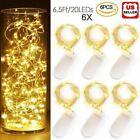 6x 20leds 2m Waterproof Led Micro Silver Copper Wire String Fairy Lights Decor