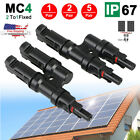 5/2/1 Pair Solar Panel MC4 T Branch Connectors Cable Splitter Coupler Combiner
