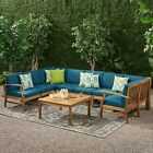 Scarlett Outdoor 8 Seater Teak Finished Acacia Wood Sectional Sofa And Table Set