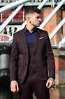 Mens 3 Piece Wine Formal Dinner Wedding Suit Dress Blazer Waistcoat Trousers
