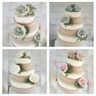 Wedding Cake Decoration Topper with Roses, Pearls, Diamantes & Hessian Lace
