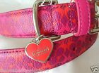 NEW COACH  HEART PINK PRINT EXTRA SMALL SMALL LARGE LEATHER DOG COLLAR XS S L