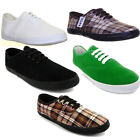 MENS WOMENS FLAT SOLE CASUAL CANVAS PUMPS LACE UP PLIMSOLLS TRAINERS SIZE UK 3 -