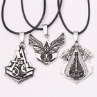 Game Assassins Leather Chain Necklace Rope Chain Gear Blade Pendant Jewelry Gift