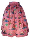 Pink Mermaid Pirate Skirt Pleated Flair Swing Pin-up Girl's Rockabilly
