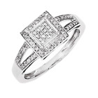 925 Sterling Silver Square Shape Diamond Ring - 0.2 Cttw