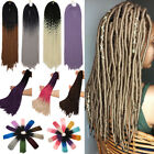 black red purple hair - Crochet 10% Human Hair extensions Soft Dread Lock Hair Faux Locs Purple 24