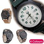 Men's Military Leather  Wrist Date Watches  Quartz Analog Army Casual Dress