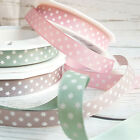 15mm Star Ribbon Dusky Pink Sage Green Taupe White. Vintage, Stars, Polka, Baby