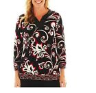 Alfred Dunner Womens Top On The Red Carpet Black Multi Petite size PS NEW