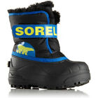 Sorel Snow Commander Faux Fur Kids Boots - Black Super Blue All Sizes
