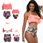 Family Matching Mother Daughter High Waist Bikini Swimsuit Women Kids Swimwear
