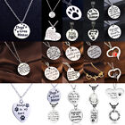Cute Pet Dog Cat Tag Memorial Necklace Paw Prints Pendant Jewelry Friend Gift